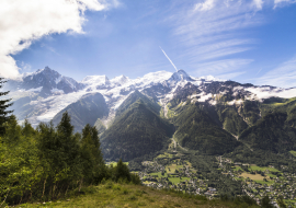 Panorama sur le massif du Mont-Blanc depuis le Parc animalier de Merlet aux Houches