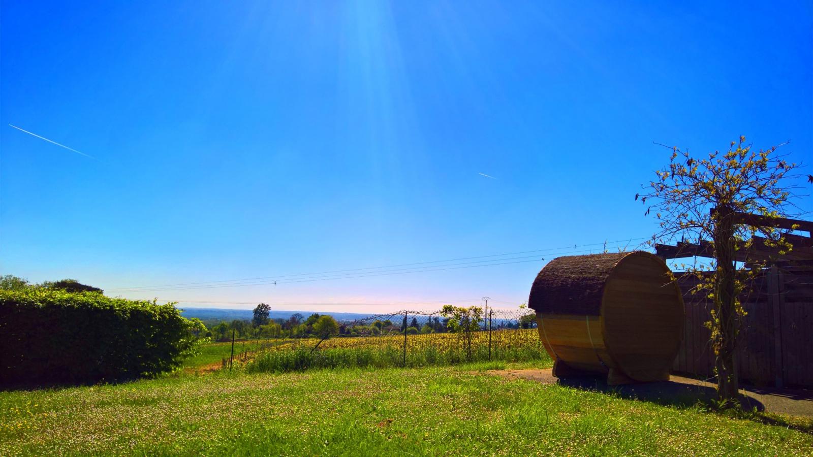 vue sur le vignes depuis le sauna