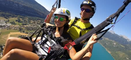 Paragliding flight lake Annecy
