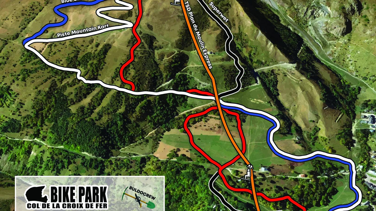 Plan des pistes Bike Park Croix de Fer et Mountain Kart